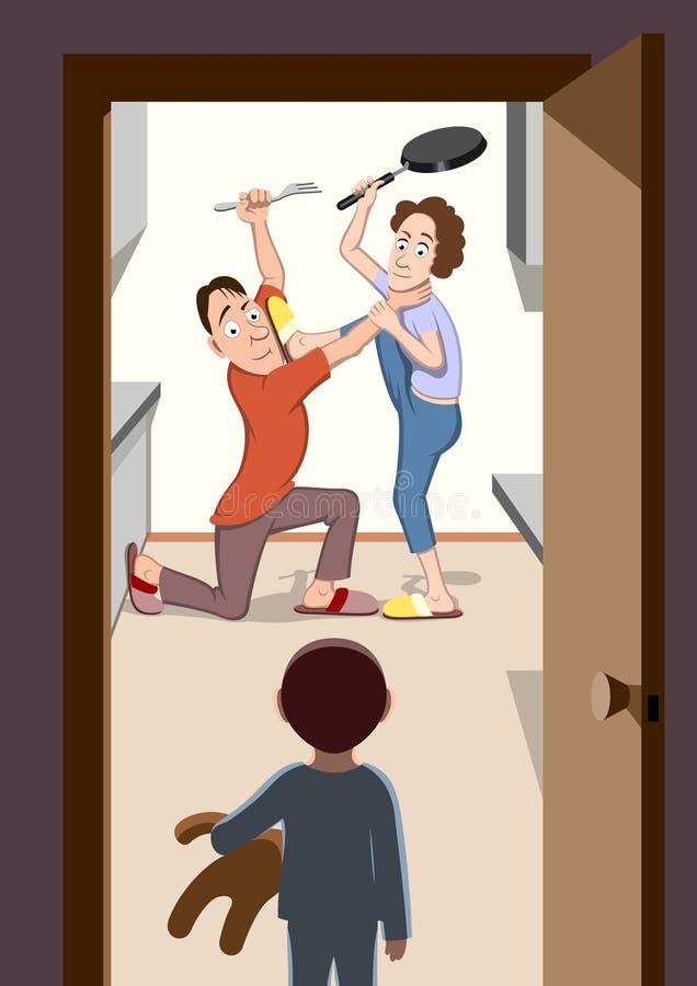Combattimento dei genitori illustrazione vettoriale