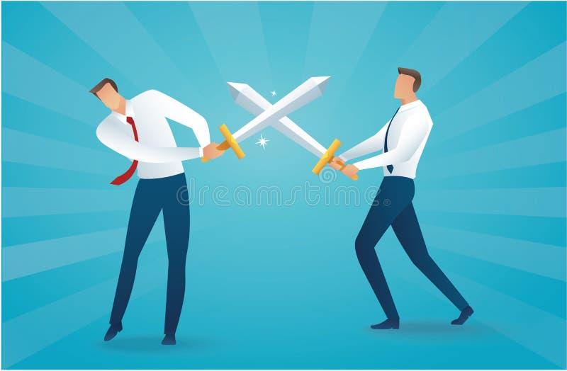 Combattimento dell'uomo d'affari con l'illustrazione EPS10 di vettore di concetto di affari delle spade illustrazione di stock