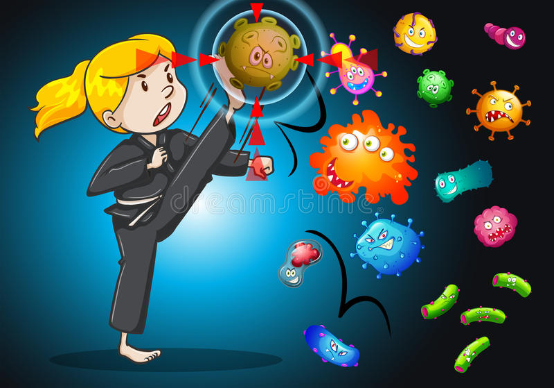 Combattimento della ragazza con i batteri royalty illustrazione gratis