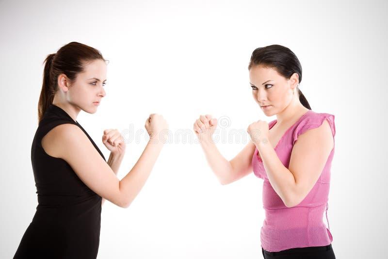 Combattimento delle donne di affari fotografia stock libera da diritti