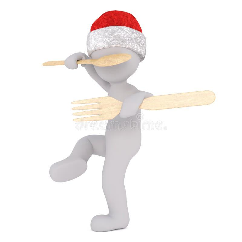 combattimento di 3d Santa Toon con il cucchiaio e la forchetta di legno illustrazione di stock