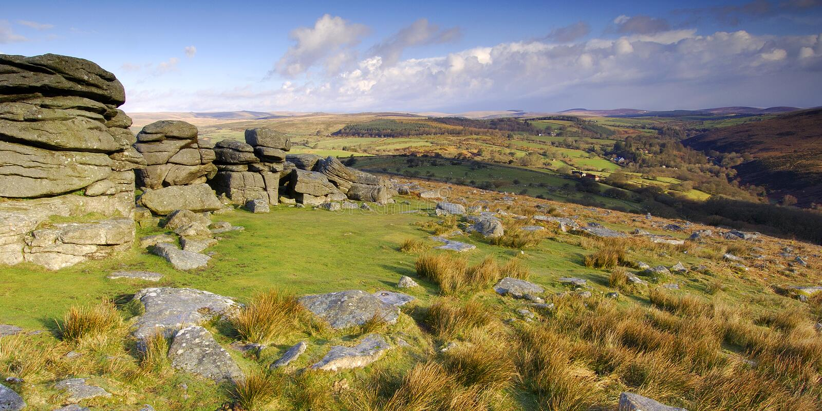 Combestone Tor Dartmoor. Panoramic view Combestone Tor Dartmoor South Devon England stock image