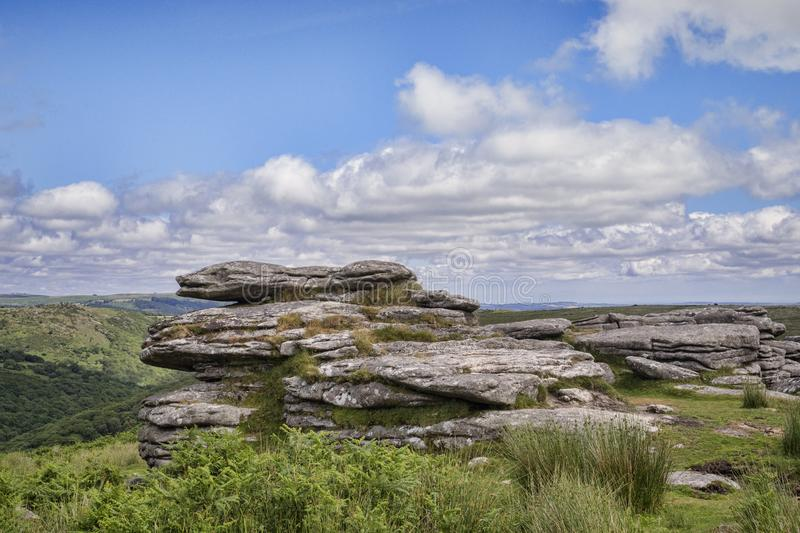 Combestone Tor, Dartmoor, Devon, UK. Combestone Tor in summer Dartmoor Devon UK stock photo