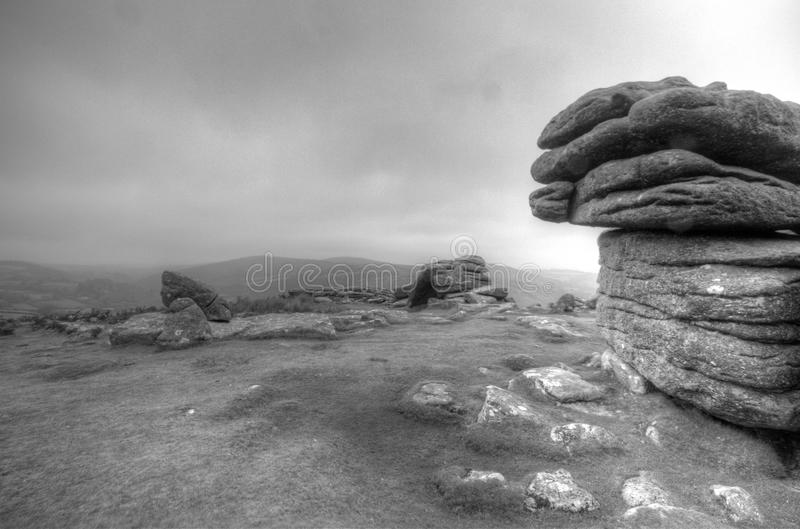 Combestone Tor, Dartmoor. Dramatic rocks on the ever moody Dartmoor royalty free stock photo