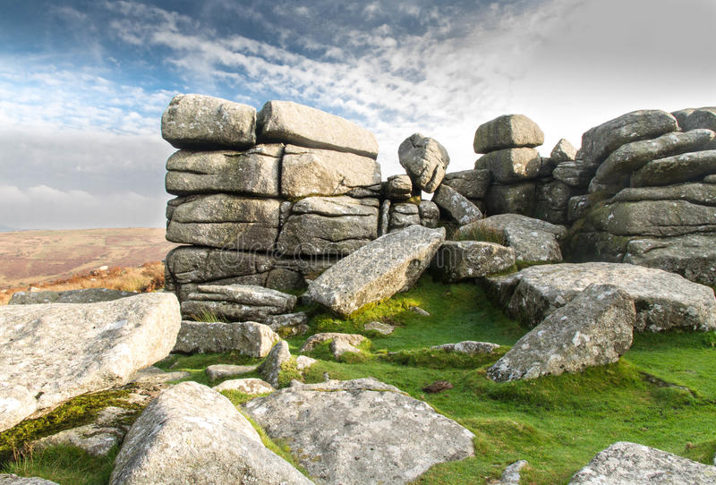 Combestone Tor, Dartmoor. Granite weathered stone outcrops of Combestone Tor. Dartmoor National Park, Devon, England, United Kingdom stock image