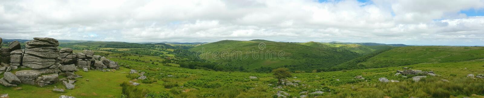 Combestone Tor , Dartmoor National Park, Devon uk. Combestone Tor, Looking towards Yar Tor, Dartmoor National Park, Devon ,uk royalty free stock photo