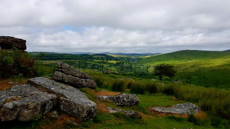 Combestone Tor , On Dartmoor National Park, Devon uk. Combestone Tor, Looking towards Yar Tor, Dartmoor National Park, Devon ,uk stock images