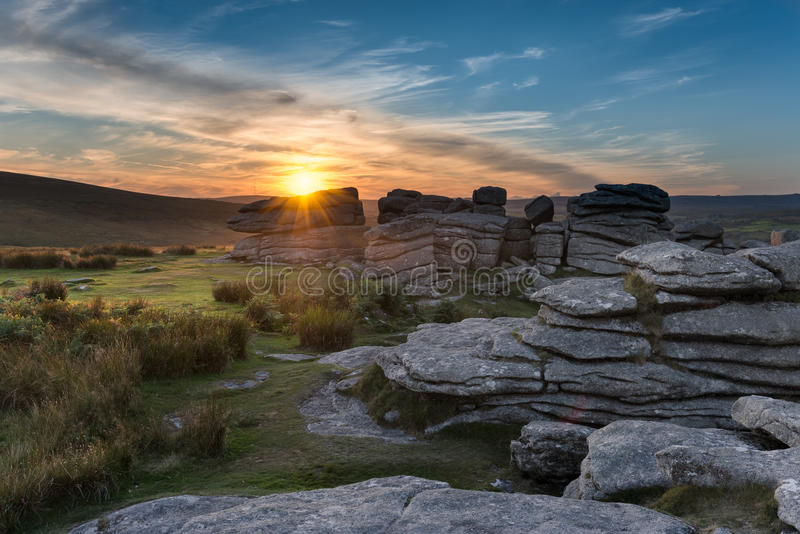 Combestone Tor on Dartmoor. Rock formations at Combestone Tor on Dartmoor in Devon stock photo