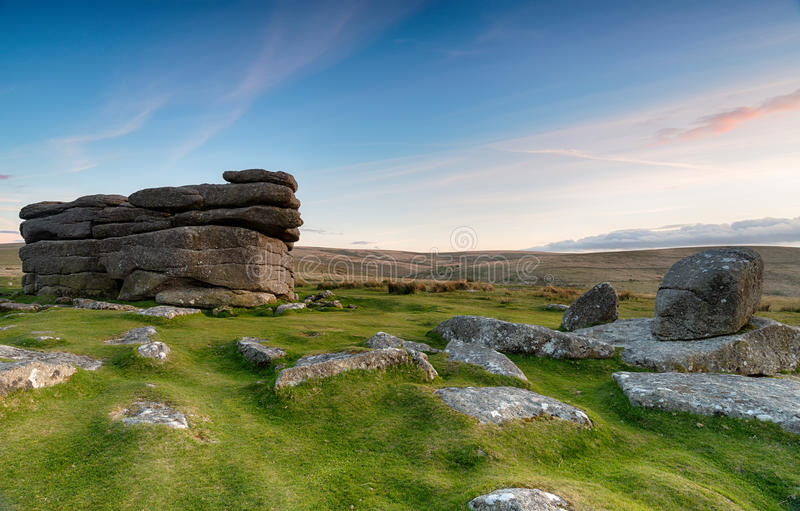 Combestone Tor on Dartmoor. Weathered granite stacks at Combestone Tor on Dartmoor in Devon stock image