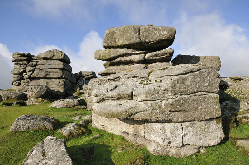 Combestone Tor. Granite Rock Formatons at Combestone Tor, Dartmoor stock photo