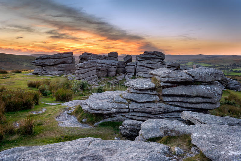Combestone Tor. Rock formations at Combestone Tor on Dartmoor royalty free stock images