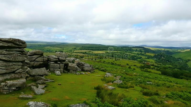 CombestoneTor , On Dartmoor National Park, Devon uk. Combestone Tor, Looking towards Yar Tor, Dartmoor National Park, Devon ,uk stock photography