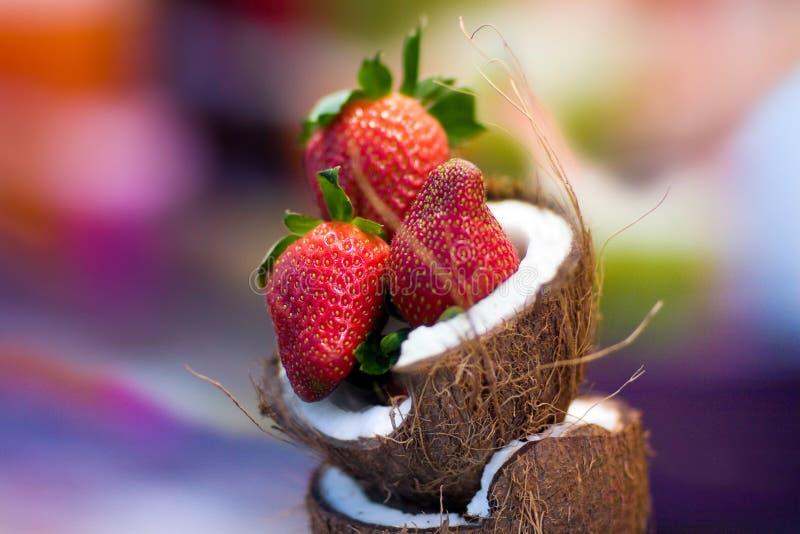 Combi de noix de coco de fraise image libre de droits