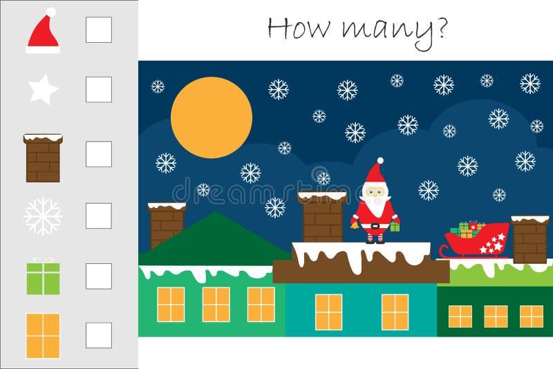 Combien comptant le jeu avec l'image de Noël pour des enfants, tâche éducative de maths pour le développement de la pensée logiqu illustration libre de droits