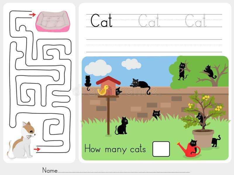 Combien de chats et jeu de labyrinthe illustration de vecteur