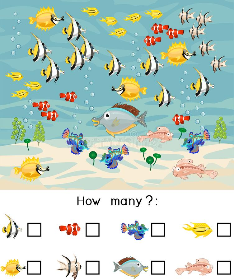 Combien de différents poissons de mer Compte du jeu éducatif avec différents animaux de mer pour des enfants illustration de vecteur