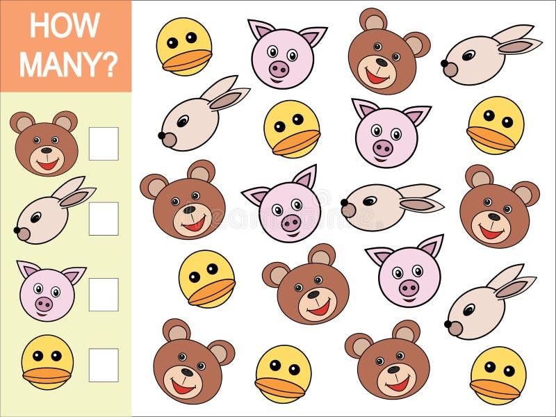 Combien de têtes des animaux Jeu mathématique pour des enfants illustration stock