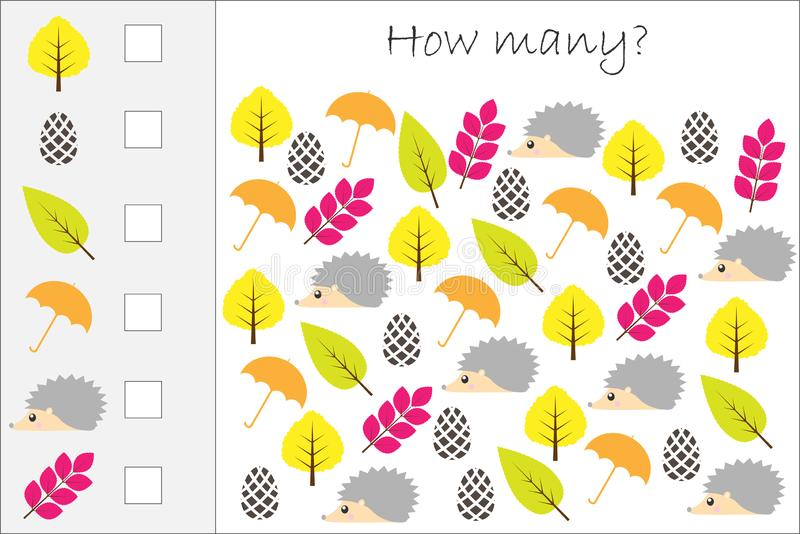 Combien le jeu de compte avec l'automne décrit pour des enfants, tâche éducative de maths pour le développement de la pensée logi illustration stock