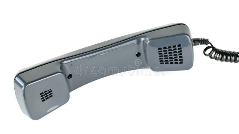 Combiné noir de téléphone de vintage avec la corde d'isolement sur le fond blanc photo libre de droits