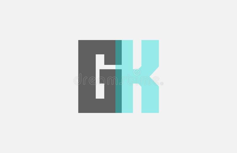 combinação de letra azul pastel cinzenta GK do alfabeto G K para o projeto do ícone do logotipo ilustração do vetor