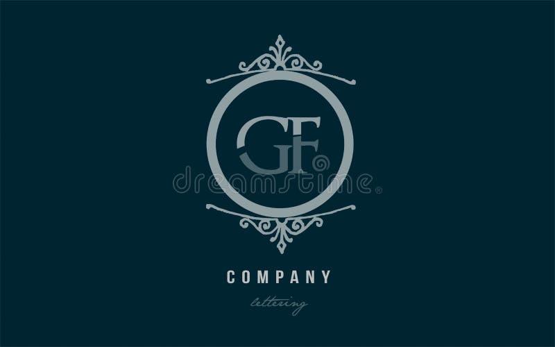 combinação decorativa azul do logotipo da letra do alfabeto do monograma de g f do gf ilustração royalty free