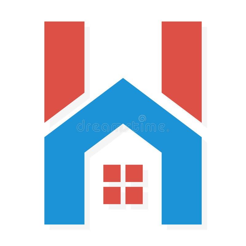 Combinação do logotipo de letra e de casa de H ilustração do vetor