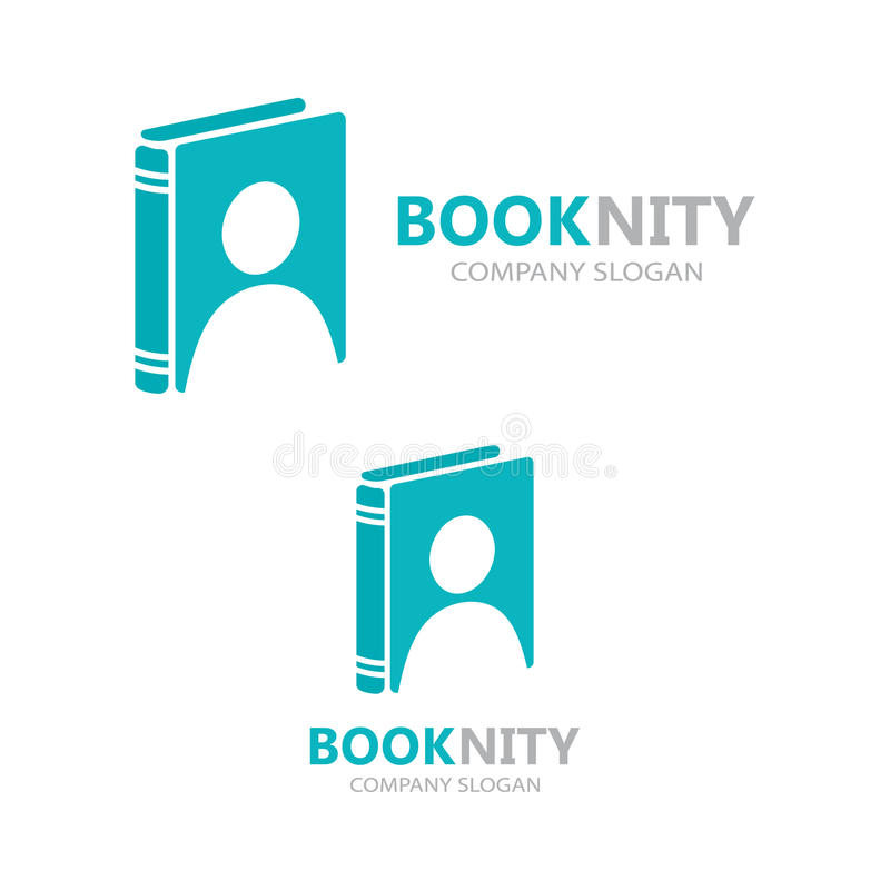 combinação do logotipo de um livro e de um homem ilustração stock