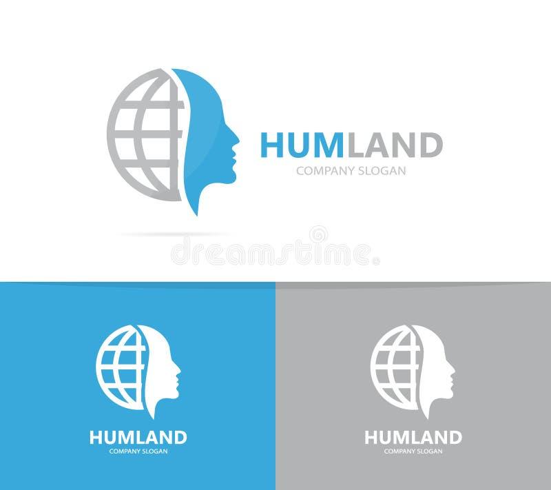 Combinação do logotipo do homem e do planeta Cara e símbolo ou ícone do mundo Molde original do projeto do logotype do ser humano ilustração do vetor