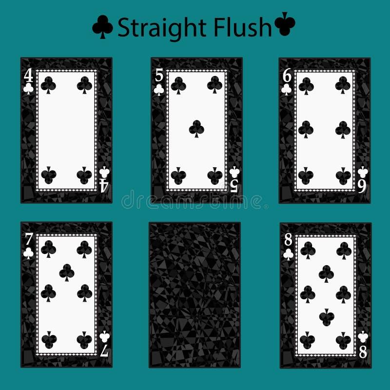 Combinação do pôquer do cartão de jogo do resplendor reto Ilustração EPS 10 Em um fundo verde Para usar-se para o projeto, regist ilustração stock