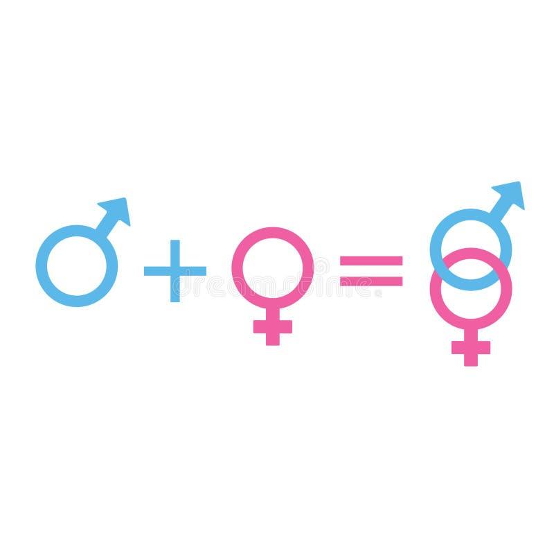 Combinação masculina e fêmea do teclado Ícone cor-de-rosa e azul do símbolo do gênero ilustração stock