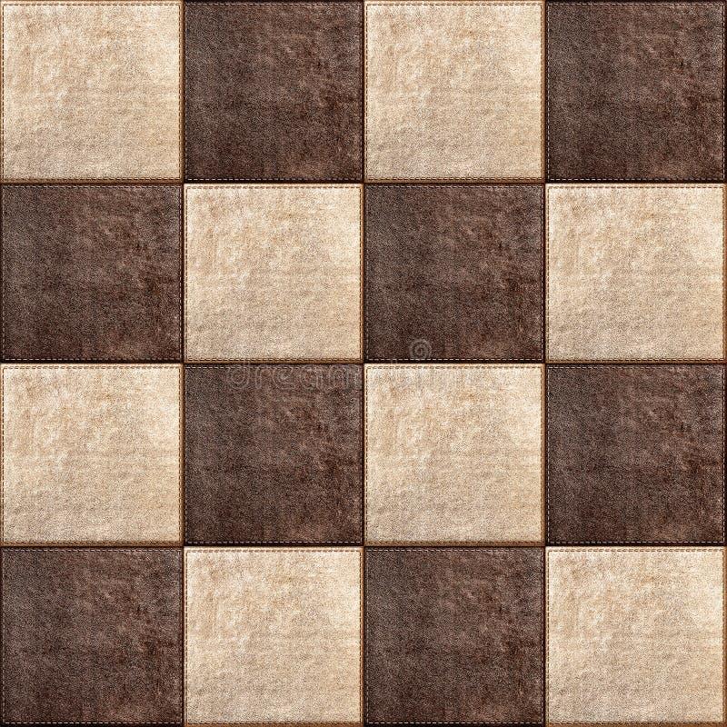 Combinação sem emenda da textura dos quadrados de couro fotografia de stock royalty free