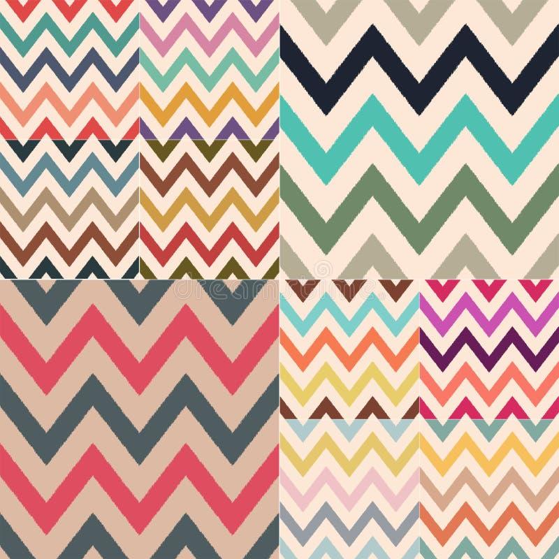 Combinações de cor retros clássicas diferentes de teste padrão conservado em estoque textured do vetor do ziguezague ilustração royalty free