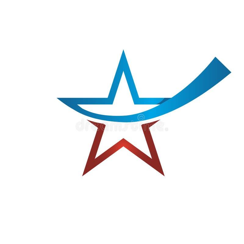 Combinações vermelhas e azuis do ícone da estrela de cor, ilustração stock