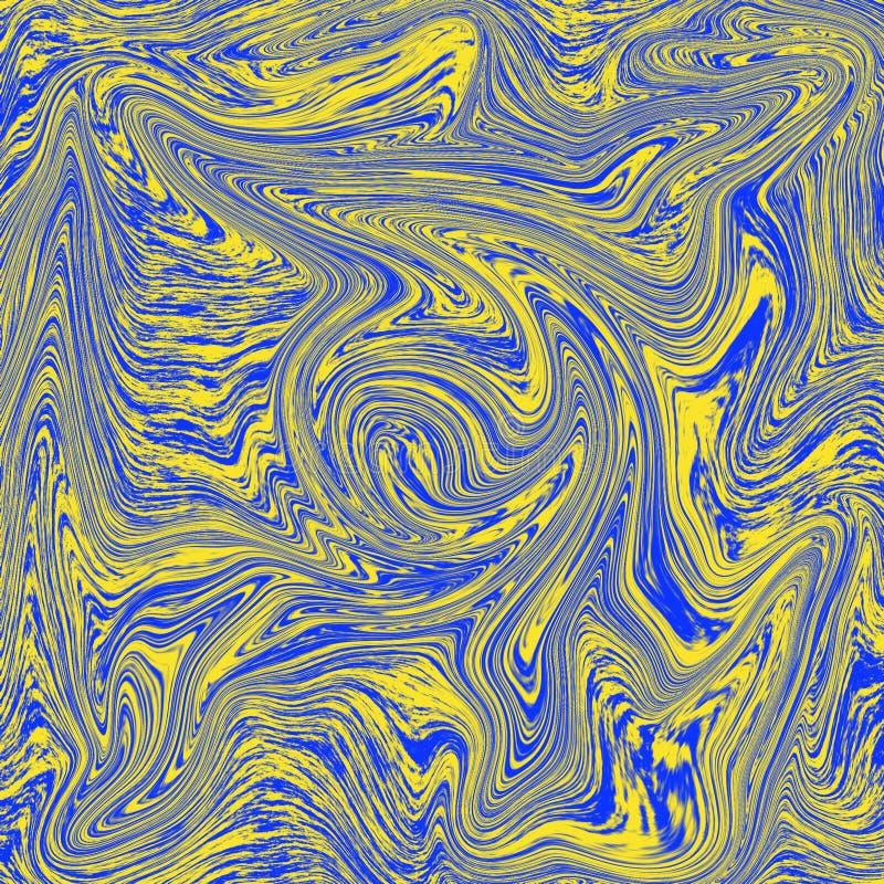 Combinación de mármol líquida de la textura fresca de amarillo y de azul ilustración del vector