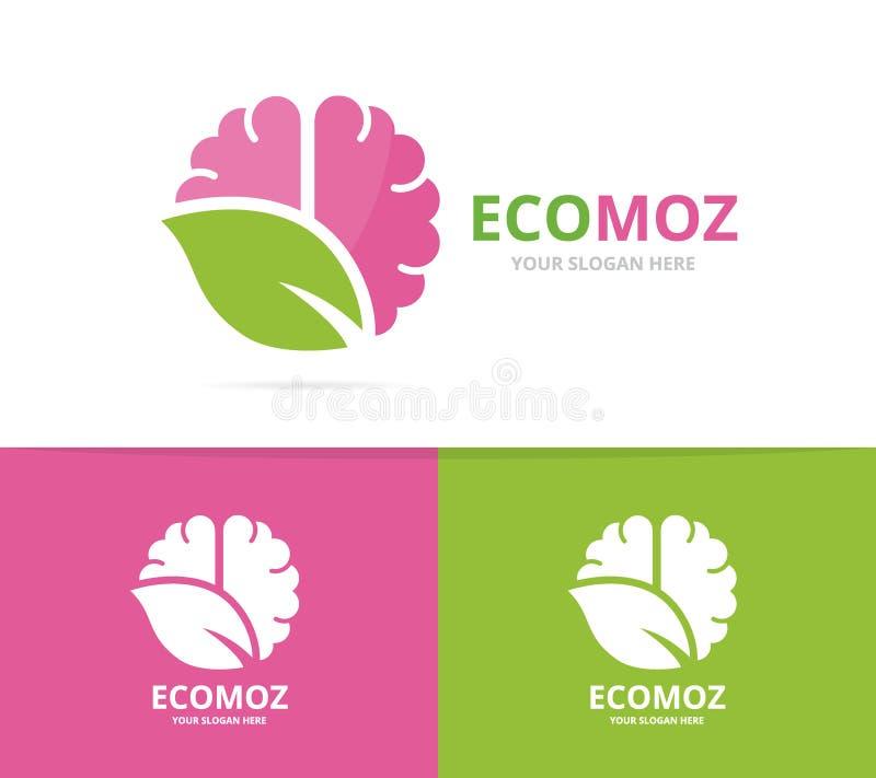 Combinación del logotipo del cerebro y de la hoja del vector Educación y símbolo o icono del eco Ciencia única y diseño orgánico  libre illustration