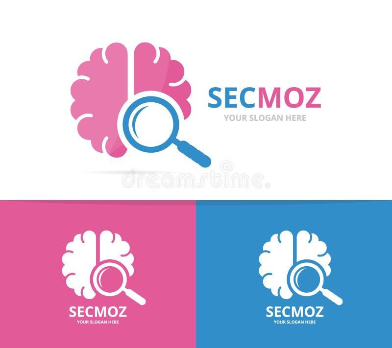 Combinación del logotipo del cerebro y de la lupa del vector Educación y símbolo o icono que magnifica Ciencia y logotipo únicos  ilustración del vector