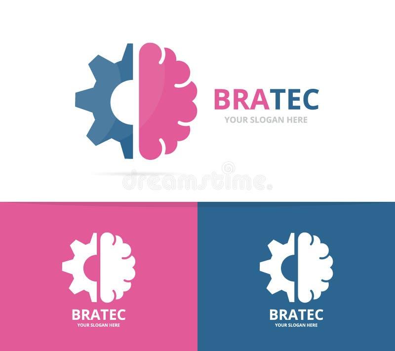 Combinación del logotipo del cerebro y del engranaje del vector Educación y símbolo o icono del mecánico Ciencia única y logotipo ilustración del vector