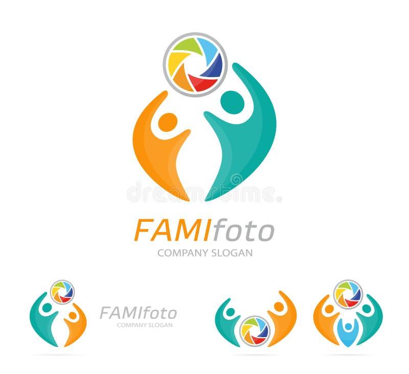 Combinación del logotipo de la cámara y de la gente de la foto Obturador y símbolo o icono de la familia La unión única, ayuda, c stock de ilustración