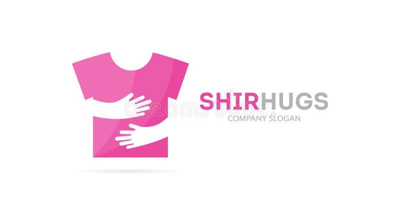 Combinación del logotipo de la camisa y de las manos del vector Desgaste y símbolo o icono del abrazo Plantilla única del diseño  libre illustration