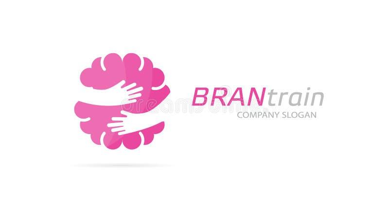 Combinación del logotipo del cerebro y de las manos del vector Educación y símbolo o icono del abrazo Diseño único del logotipo d ilustración del vector