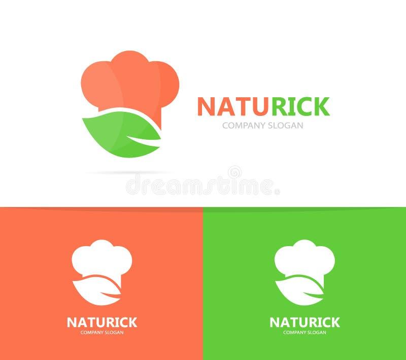 Combinación Del Logotipo Del Cocinero Y De La Hoja Cocina Y Símbolo ...