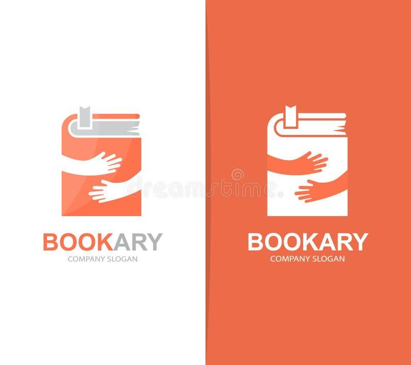 Combinación del logotipo del libro y de las manos del vector Novela y símbolo o icono del abrazo Diseño único del logotipo de la  ilustración del vector