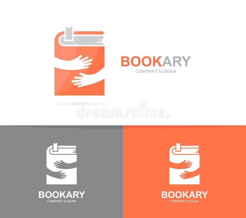 Combinación del logotipo del libro y de las manos del vector Novela y símbolo o icono del abrazo Diseño único del logotipo de la  libre illustration
