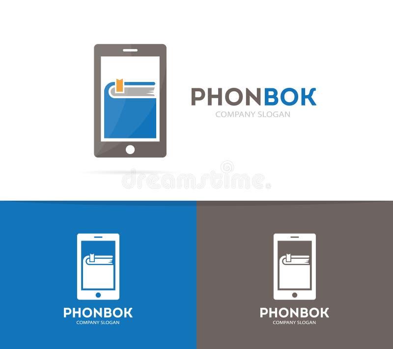 Combinación del logotipo del libro y del teléfono del vector Símbolo o icono nuevo y móvil Diseño único del logotipo de la librer ilustración del vector