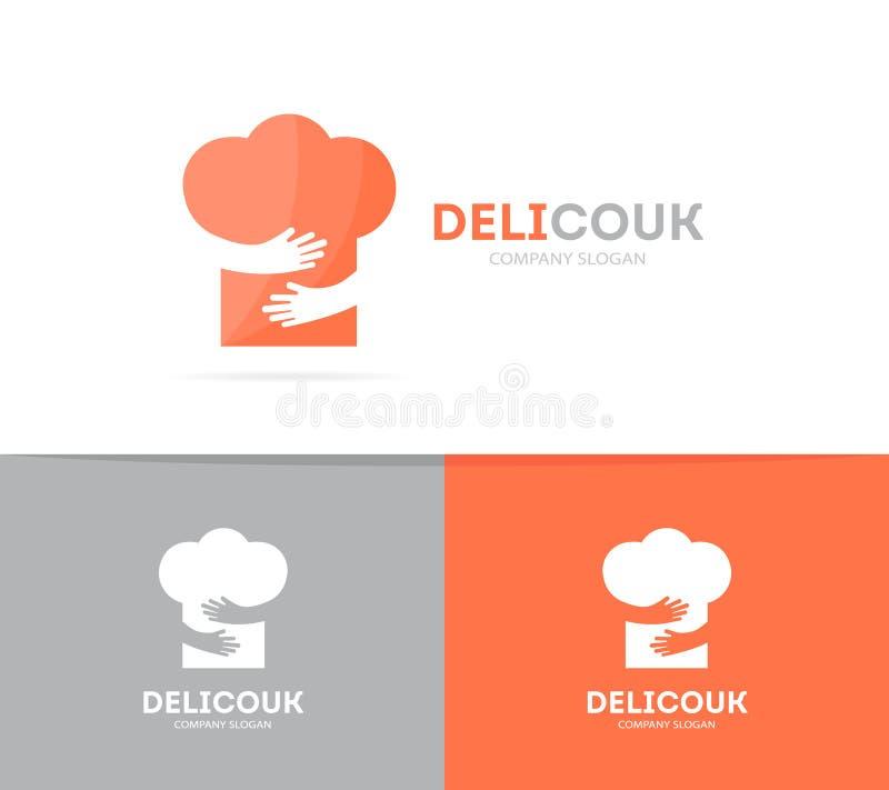 Combinación del logotipo del sombrero y de las manos del cocinero del vector Menú y símbolo o icono del abrazo Logotipo único del stock de ilustración