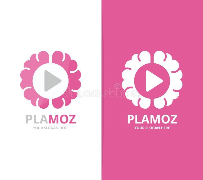 Combinación del logotipo del juego del cerebro y del botón del vector Educación y símbolo o icono del expediente libre illustration