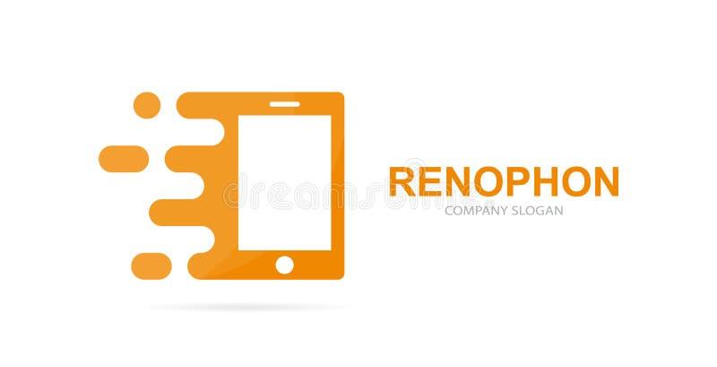 Combinación elegante rápida del logotipo del teléfono del vector Símbolo o icono móvil de la velocidad Diseño social y digital ún ilustración del vector