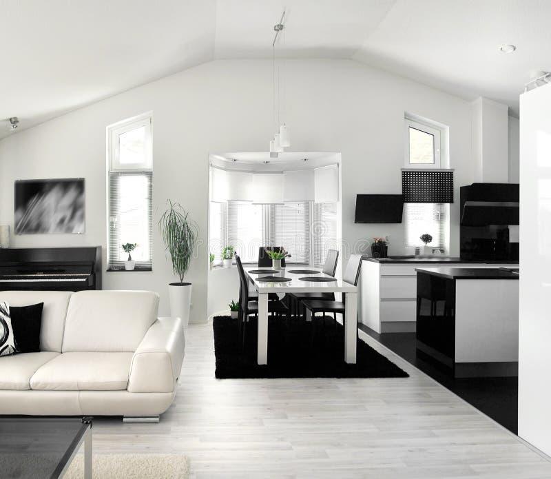 Combinación moderna de la cocina de la sala de estar imágenes de archivo libres de regalías