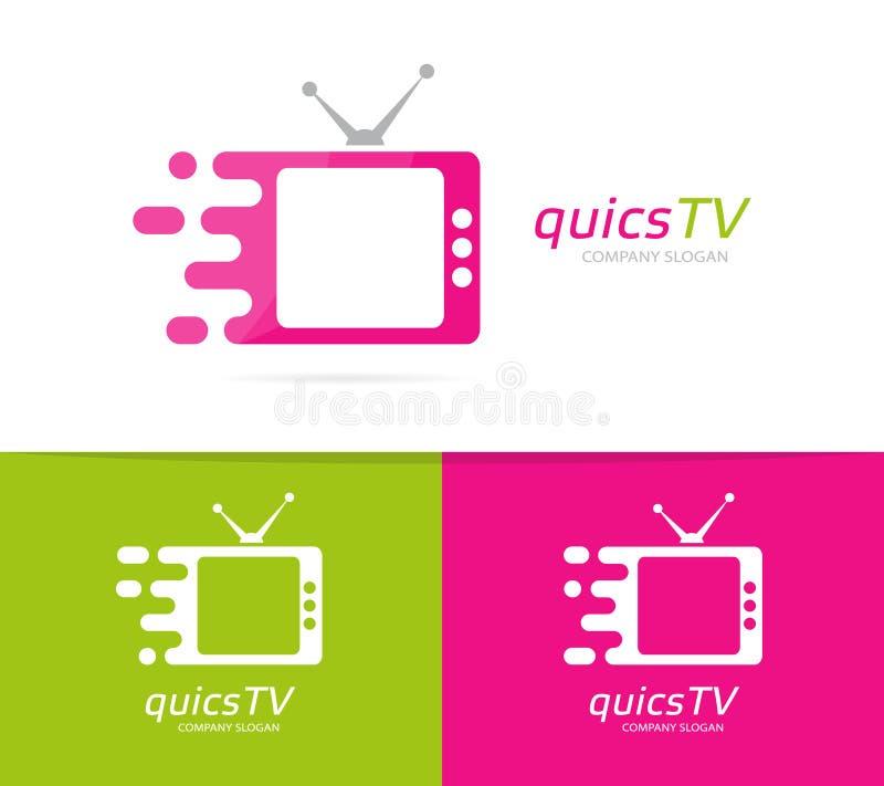 Combinación rápida del logotipo de la televisión del vector Símbolo o icono del cine de la velocidad Plantilla única del diseño d libre illustration