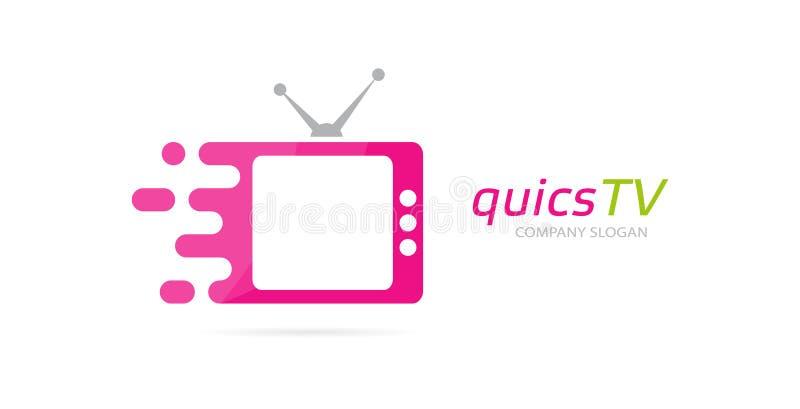 Combinación rápida del logotipo de la televisión del vector Símbolo o icono del cine de la velocidad Plantilla única del diseño d stock de ilustración